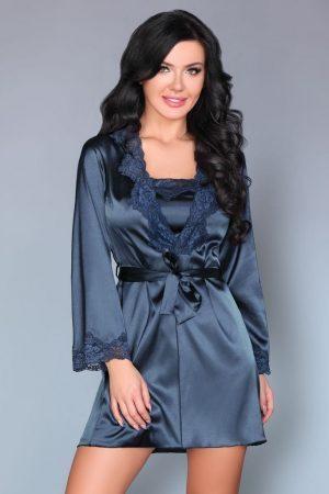 Blå morgonrock och nattlinne silke spets TopLady