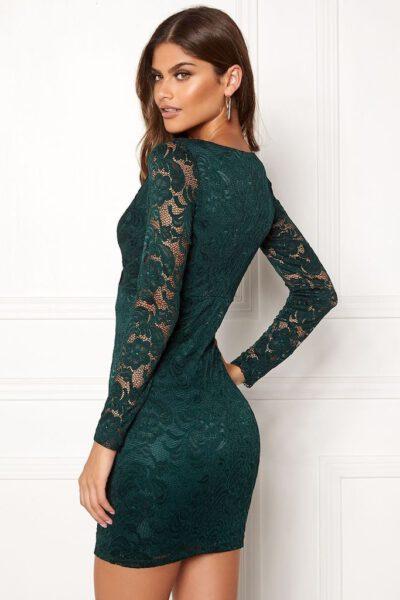Mörkgrön spetsklänning