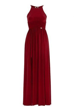 vinröd långklänning i trikå från CHIARA FORTHI