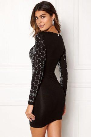 Glittrig festklänning i svart med silver stenar - TopLady