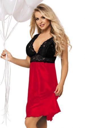 Glansig röd nattklänning i satin med inslag av spets - TopLady