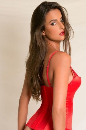 Underkläder set | Mjuk röd Korsett & trosa