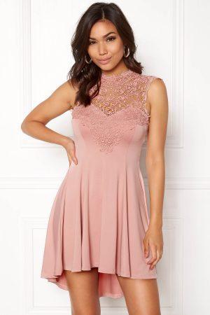 Rosa festklänning med spets - TopLady