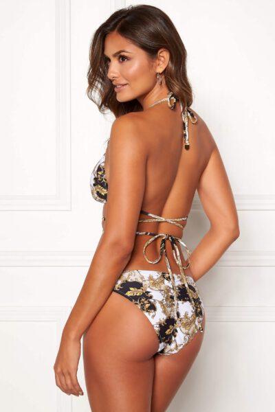Snygg trekants-bikini med förlängda knytband.