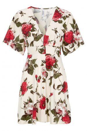Blommig trikåklänning med knäppning från CHIARA FORTHI - TopLady