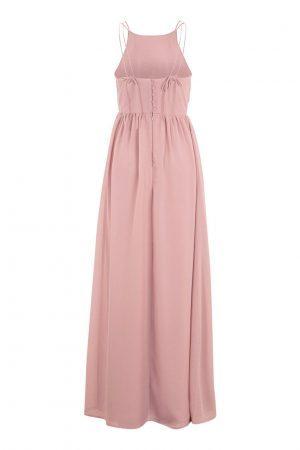 Rosa lång festklänning med superfina detaljer från MAKE WAY