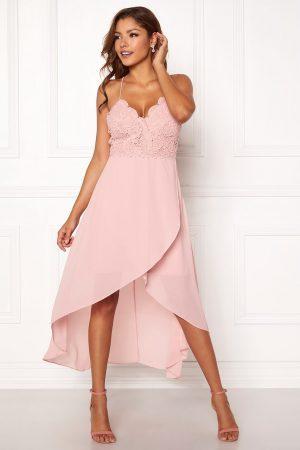 Rosa festklänning i spets och chiffong - TopLady