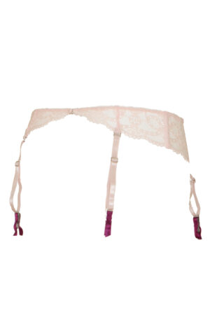 Ljusrosa strumpebandshållare i spets - TopLady